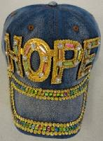 Denim Hat with Bling [HOPE] Gold